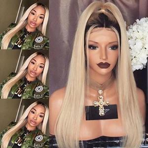 En Kaliteli Sentetik Peruk İpeksi Düz Ombre Sarışın Saç Tutkalsız Dantel Peruk Siyah Kadınlar için Isıya Dayanıklı Sentetik Dantel Ön Peruk