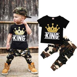 Crianças Baby Boy roupas pretas T-shirt + Camuflagem Calças 2pcs set Roupa Kid Boy Roupa Rei Coroa do bebê Suit Atacado Fábrica