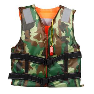 Natation Adulte Gilet de sauvetage Gilet de ski nautique mousse pêche dérivantes sécurité Vestes de camouflage Double Side Life Vest avec sifflet
