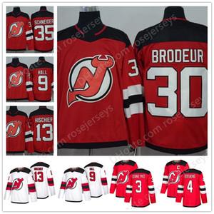 Нью-Джерси Дьяволы #30 Мартин Бродер 26 Патрик Элиас 4 Скотт Стивенс 3 Кен Данейко 27 Niedermayer Красный Белый Сшитые Отставной Игрок Хоккей