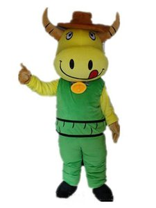 2018 High quality hot a yellow cattle mascot costume wear green suit with a small bell for sale