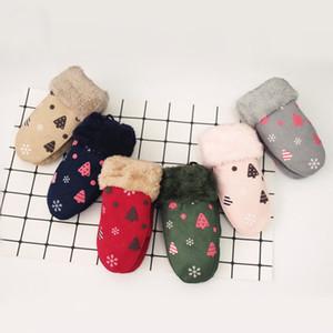 Мода мультфильм Рождественская елка сумка палец висит шеи детские перчатки замшевые варежки двойной слой толстый теплый унисекс перчатки