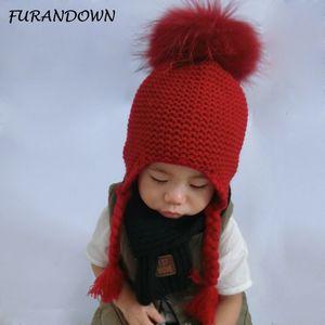 FURANDOWN Baby Girl Winter Raccoon Fur Hats Children Knitted Wool Earflap Beanies For Boys Kids Warm Hat Cap D18110601
