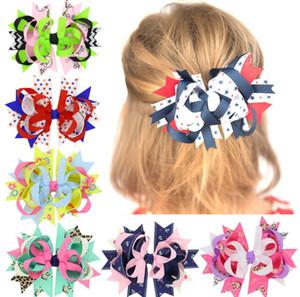 Clips 18pcs puntos arcos del pelo Azul marino Rojo horquilla Stacked Boutique niños arcos del pelo para las muchachas accesorios del pelo HC098