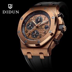 DIDUN Orologio da uomo Top orologio al quarzo Rosegold Cronografo antiurto 30m orologio impermeabile