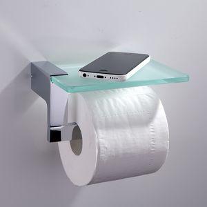 Porta carta igienica in cromo Appeso a parete in ottone di lusso con portarotolo con porta telefono in vetro per cucina bagno