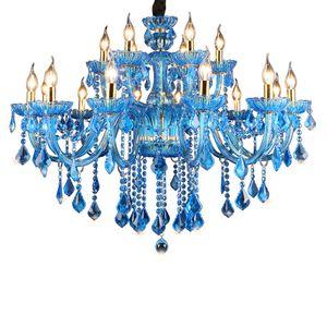 Lámpara de salón moderna europea lámpara de araña de cristal luces de velas comedor dormitorio hotel lámparas de cristal
