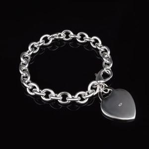 Wholesale - Retail lowest price Christmas gift, new 925 silver plate fashion Bracelet Heart Bracelet Hot sale