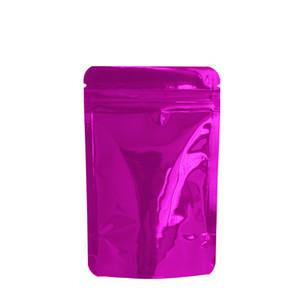 Venta al por menor Shiny Purple Stand Up Zipper Zip Lock Bag 8.5 * 13cm Doypack Glossy Aluminium Foil Food Secado Paquete de muestra de grano de té 100pcs / lot