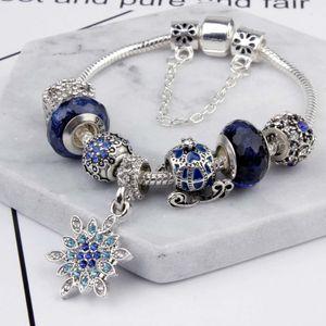خرز سحر تناسب المجوهرات 925 أساور فضية Snowflake Pendant Blue plagle sky cart charms Diy Jewels with gift box