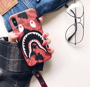 Tide brand camouflage shark mouth for iphone XS MAX mobile phone shell iPhone8 matte couple 6s 7 creative lanyard TPU designer phone case
