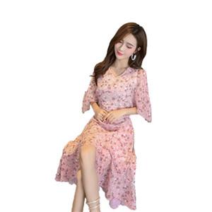 Flora Printed платья розового лаванда V шея Половина длина без бретелек плиссированных рукавов летучей мыши случайного асимметричного платья высокого качества хлопок шифон