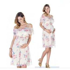 Vestido embarazado volante fuera hombro vestidos de maternidad florales para la foto disparar vestido de maternidad de gasa ropa de fiesta