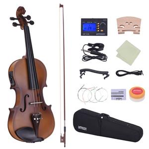 도매 풀 사이즈 4/4 바이올린 어쿠스틱 일렉트릭 바이올린 바이올린 솔리드 우드 바디 에보니 핑거 보드 페그 턱 나머지 테일 피스