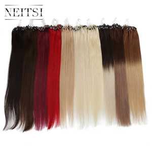 """Neitsi Straight Loop Micro Ring Hair 100% Human Micro Bead Links Machine Made Remy Hair Extension 16"""" 20"""" 24"""" 1g s 50g 20 Colors"""