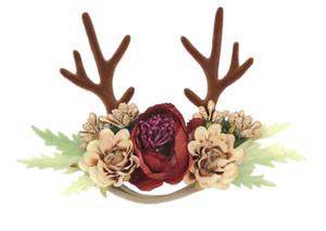 Moda bosque ciervos cuernos Borgoña subió Corona venda de la flor Navidad del arbolado del Cuerno floral por encargo hecho a mano ciervos diadema A1195