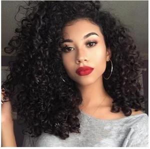 Fantasía belleza 180 densidad largo suelto rizo pelucas de pelo Color negro resistente al calor sintético sin peluca frontal de encaje para niñas de moda