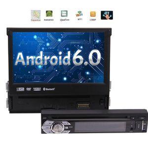 Único Din Android 6.0 Unidade Principal de 7 polegadas Car Stereo com Ângulo de Visão Ajustável Suporte GPS, carro DVD CD Player, Bluetooth