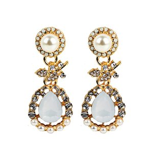 European Fashion Exaggeration Ornaments Boucles d'Oreilles New Diamond Pearl Drip