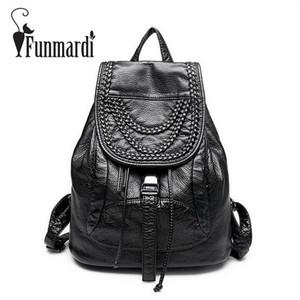 FUNMARDI mulheres estilo casual tecelagem Rivet mochila formal Travel Bag luxuoso do vintage Bolsas de Ombro Moda Couro Bolsas WLHB1605