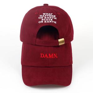 2018 ne 'kırmızı şarap kendrick lamar lanet kap nakış DAMN. yapılandırılmamış baba şapka kemik kadın erkek rapçi beyzbol şapkası
