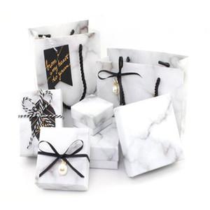 Beyaz Mermer desen Tek Katmanlar Nişan Yüzüğü Kutusu Saklama için Takı Kolye Tutucu Takı Kutusu Hediye Çanta sevgililer Günü için