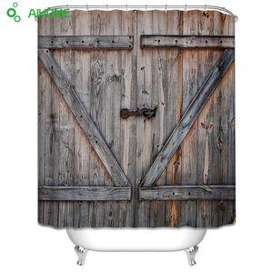 Eski Ahşap Garaj Kapı Duş Perdesi 180x180 cm / 150 * 180 cm Su Geçirmez Polyester Duş Perdesi Banyo Süslemeleri