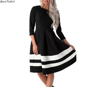 BornToGirl Vintage de cintura alta de punto espesar vestido mujer primavera otoño invierno manga tres cuartos O cuello negro vestido blanco
