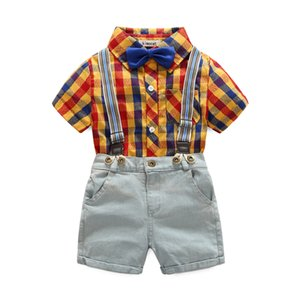 toddler clothing set formal boys clothes summer baby plaid short-sleeve shirt with Bow tie + shorts + 2 pcs clothes for boy