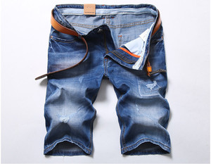 2018 Nova Moda Verão Skinny Mens Denim Blue Shorts Casual Na Altura Do Joelho Short Hole Jeans Shorts