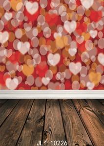 rosa cenários de fotografia piso de madeira foto fundo bokeh dot fundos em forma de coração para estúdio de fotografia de tecido de vinil 3d
