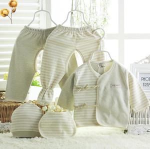 Conjunto de Roupas de Bebê recém-nascido Algodão Orgânico Do Bebê 5 peças Conjuntos de Roupas Infantis Caixa de Presente Conjuntos de Roupas de Bebê Recém-nascido