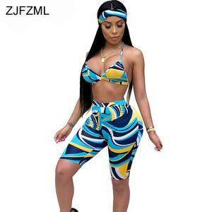 Сексуальная печать 3 шт костюмы для женщин Одежда 2018 Summer Crop Top и пляж Boho короткие и головной платок Club Matching Set