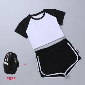 2 em 1 correndo yoga terno esporte t-shirt + calções respirável feminino jogging definir summer quick dry meninas yoga ternos saco do telefone grátis