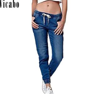Vicabo Verão Com Cordão Lápis Calça Jeans Mulheres Jeggings Legal Denim Cintura Alta Calças Femininas Casual Vintage Boyfriend Mom Jeans