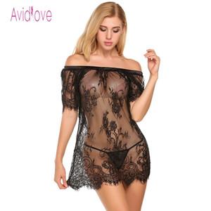 Avidlove شفافة داخلية مثير جنس الساخن ازياء النساء الدانتيل مثير مائل طوق بيبي دول فستان مثير للنوم نوم Y18101601