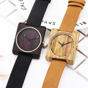 Creativo Cuadrado de madera natural para hombre para mujer Pareja Reloj Moda Ocio Unisex Hombres Reloj Marrón Negro Banda de cuero Reloj de pulsera