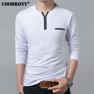 Algodón Coodrony Camiseta de algodón puro Hombres Primavera Otoño Camiseta de manga larga - Camisa Hombre Henry Collar Camisa Hombre Moda Slim Fit Top Casual