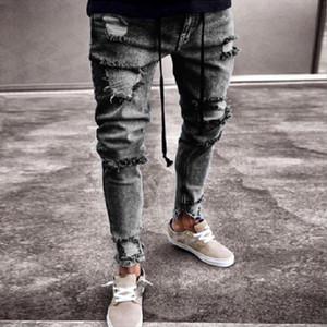 Mode européenne américaine Streetwear Jeans pour hommes Skinny Fit Détruit déchiré Jeans Broken Punk Pants Homme Hip Hop Hommes