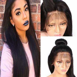 Шелковистая прямая бразильский кружева передние парики человеческих волос 150% плотность с волосами младенца предварительно перебирают бесклеевой полный шнурок парики человеческих волос