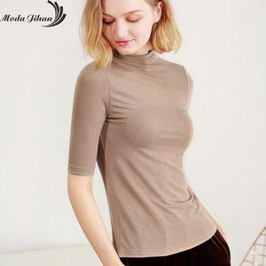 Moda Jihan Women T-shirt Base T-shirts Bottoming Basic Tee Tops 2018 New Cotton Turtle Neck Half Sleeve Slim Femme T Shirts