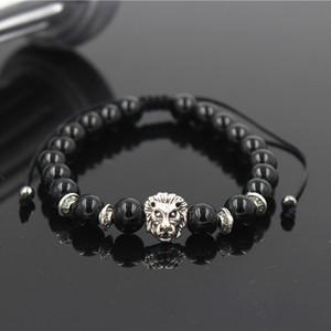 Flechten Löwen Stein Perlen Armbänder für Frauen Pulseira Masculina Männer Schmuck Feminina Bilklik Elastic Braclet Bijoux Herren
