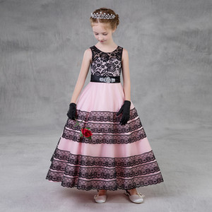 2018 Country Flower Girls Dresses For Weddings Princess Jewel Bow Sleeveless Sashes Long Lace Little Kids Holy First Communion Dress Custom
