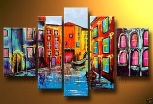 El yapımı soyut 5 parça boyama duvar boyama parlak renkler manzara boyama akrilik boya tuval art deco resim sergisi için dekorasyon