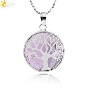 CSJA pierre ronde naturelle Kabbalah arbre de vie pendentif colliers Rose Quartz blanc cristal Lapis Lazuli oeil de tigre collier améthyste F044 A