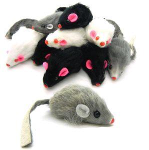 Kaninchenpelzmaus des freien Verschiffens echte für Katze spielt Maus mit Tonqualität 100pcs / lot