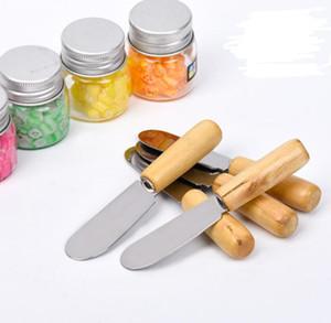 100pcs التي الفولاذ المقاوم للصدأ زبدة أداة البسط الخشب زبدة سكين الجبن الحلوى جام الموزعة أداة الإفطار أدوات الجبن أداة البسط