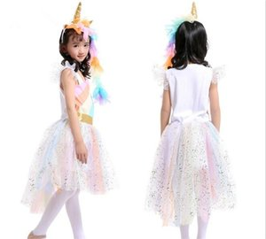 50pcs Girls Rainbow Dress with Unicorn Headband + Angel Wings Lace Tutu Girls Princess Dress Suits Cosplay Clothing Sets Y256