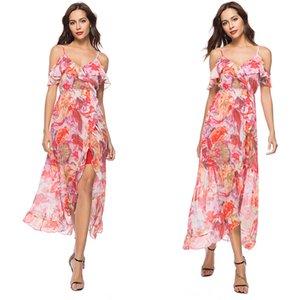 Vestido boêmio com plissado guarnição do ombro impressão Floral Design exclusivo Hi-lo férias férias praia vestidos para mulheres vestidos Plus Size