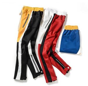 HZIJUE Vintage-Farben-Block-Patchwork Jogginghose 2018 Männer Hip Hop-Seiten-Reißverschluss beiläufige elastischer Taillen-Jogger Hosen Street Männer